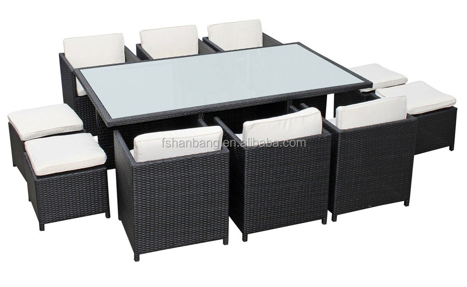 Outdoor Wicker Patio Rattan Cube Garden 11 Piece Dining Table And Chairs Set