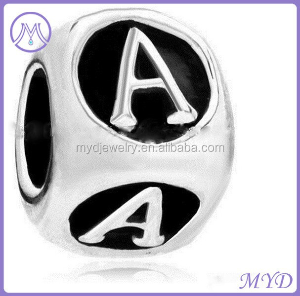 European large <strong>hole</strong> 26 alphabet charms metal letter beads for bracelets