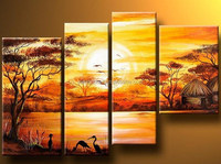 Oil Painted abstract tree canvas painting African landscape pictures