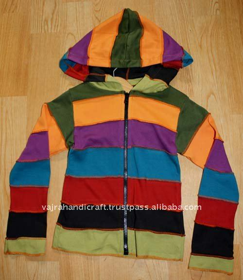 Children Colorful Horizontal Stripe Hooded Sweatshirt
