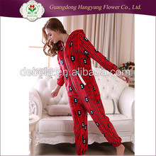 Customized winter one piece cotton printed lady pajamas, modal women fashion home wear