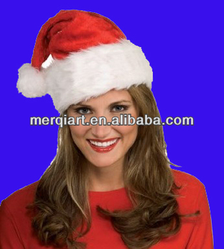2017 new Christmas hat or Nice Festive Holiday Hat Velvet Santa Hat with Plush Trim
