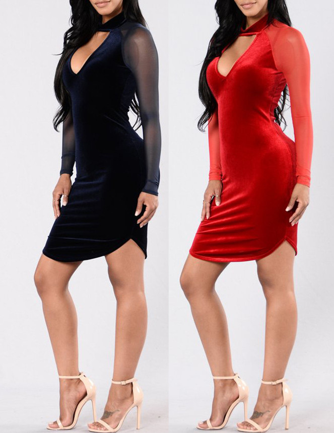 B31727A 2016 Hot Girls Picture Sexy Mesh Women Party Club First Night Sexy Dress