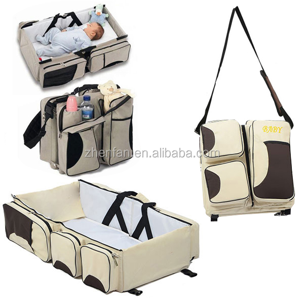wholesale large capacity multi-function baby's cot baby diaper bags 3 piece in 1 set