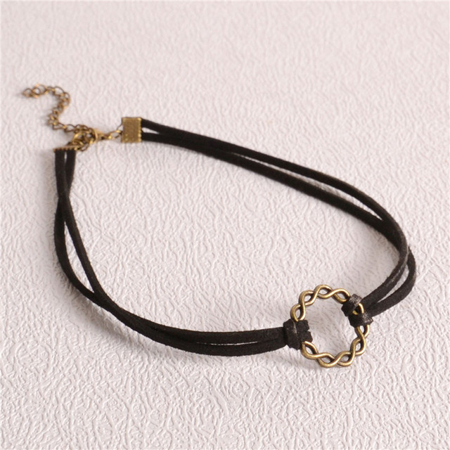 2016 Fashion Women Rope Jewelry Black Tattoo Choker Necklace Elastic Star Moon Flower Leather Copper Necklace