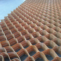 Green, Brown and Black Perforated HDPE geocell with textured surface