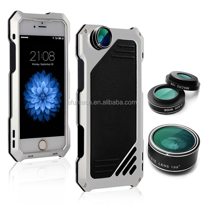 OEM mobile phone accessory aluminum metal case with fish eye lens for iphone 7 plus