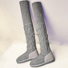 China handmade women knitting wool suede soft movable breathable anti-slip big size thigh high boots