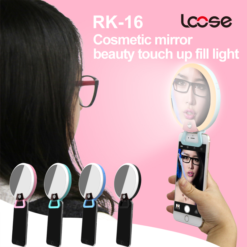 Portable LED selfie ring light with mirror camera rechargable flash light