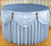 100% satin polyester plain white hotel table skirting