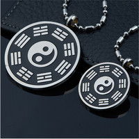Yiwu Aceon 316L Stainless Steel Black Enamel Couple Yin Yang Pendant