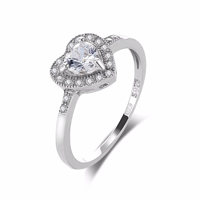 diamond cz heart shape silver engagement ring