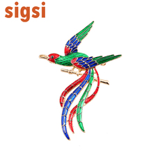 Gold Tone Fashion Enamel Glaze Phoenix Brooch Pin Lapel Pins Animal Hijab Brooches For Women Bird Jewelry