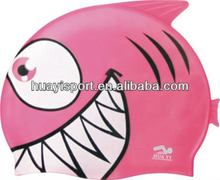 Cute baby girl original silicone children cartoon swimming cap