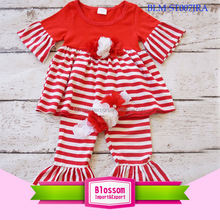 New style Children clothing Fall Christamas baby girl boutique clothing girls red stripe kids ruffle outfits Chinese supplier