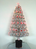 Mini Table White Fiber Optic Artificial Christmas Tree With Red LED Light