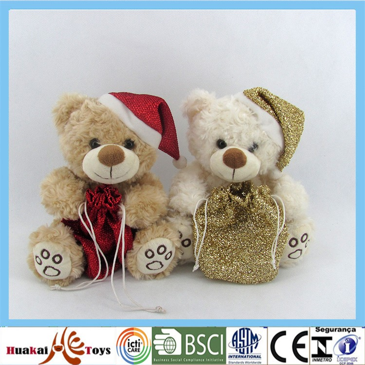 "GDL4074-1A/B 8"" wonderful gift for christmas bear stuffed bear with bag"