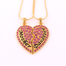 HJ003 Yiwu Huilin Jewelry Wholesale Alibaba Pink Crystal Heart Mothers Day Gifts Cheap Mother Dauthter Snake Chain Necklace