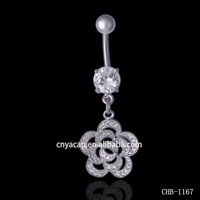 Best Wholesale Cubic Zirconia Paved Flower Navel Banana Gold Piercing