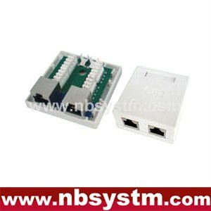 2 ports Surface Box STP Cat6 2xRJ45 PCB jack
