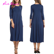 Hot Sale simple no pattern o neck blue muslim long dress in malaysia