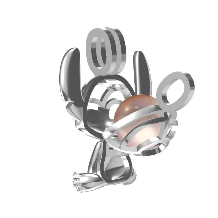 Lilo e Stitch franquia gaiolas pérola colar de pingente de prata esterlina 925 Personagem de banda desenhada gaiola oca