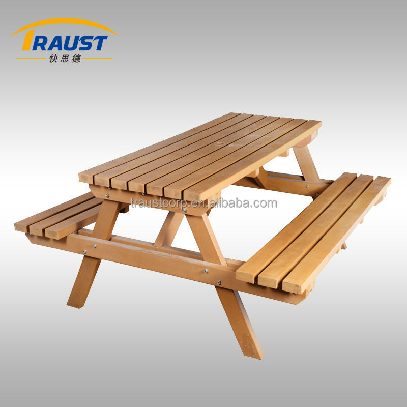 Outdoor picnic table and chair, wood decking patio bench