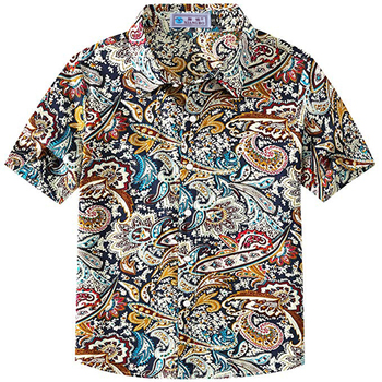 Big boy's paisley cotton short sleeve casual button down hawaiian shirts