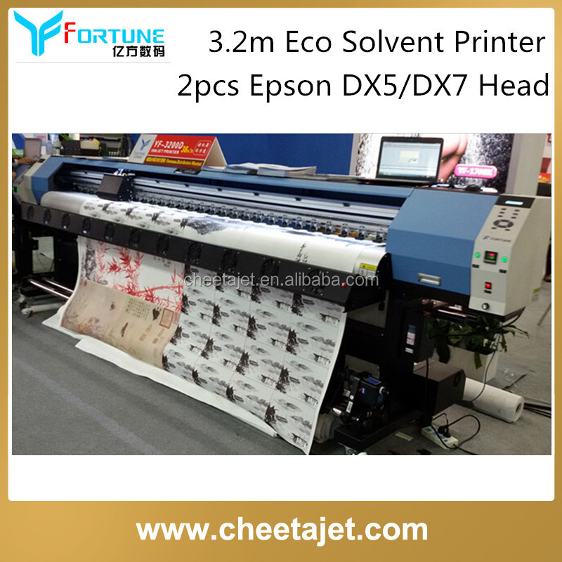 1440dpi 126inches 3.2m eco solvent digital printing machine with two dx5 dx7 printhead for vinyl sticker printing