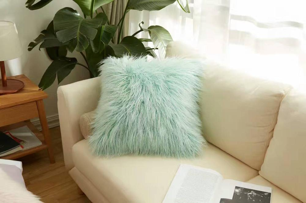 2017 new fashion faux fur long pile cushion covering pillow, long hair sofa faux fur cushion