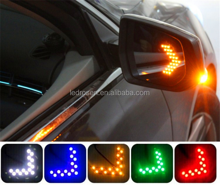 High quality SMD LED Arrow Panel Car Rear View Side Mirror Turn Signal Blinker Light