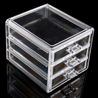 3 Drawers Display Clear Acrylic Crystal Cosmetic Organizer Makeup Case Holder Storage Box Gift