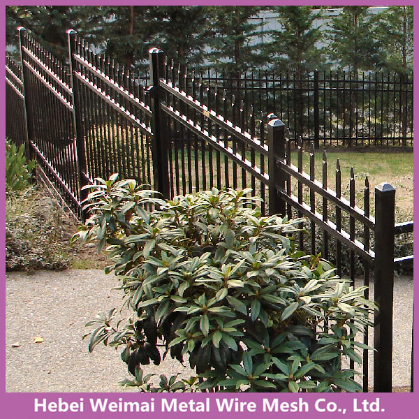 Black galvanised outdoor tubular steel fencing