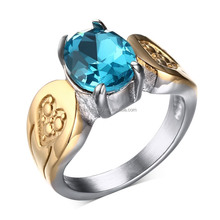 KSF Latest Gold Finger Ring Designs Diamond Rings Gold Jewelry With Blue Rhineston Wholesale