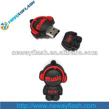 Rubber lovely Music man with earphone usb pen drives 8G