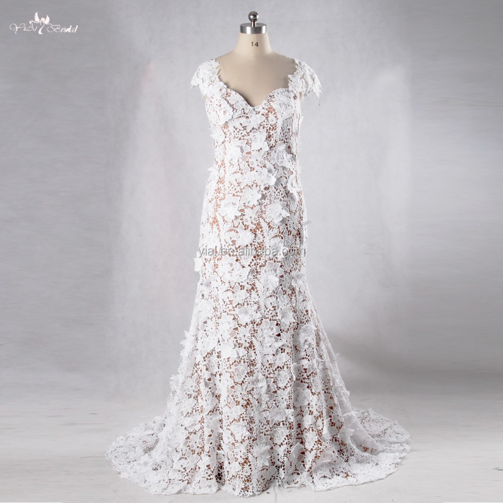 RSW972 Bohemian China Custom Made Picture Of Latest Gown Designs Venice Lace Mermaid Wedding Dresses