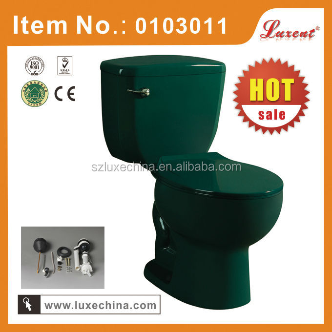 Siphon two piece toilet in dark green color