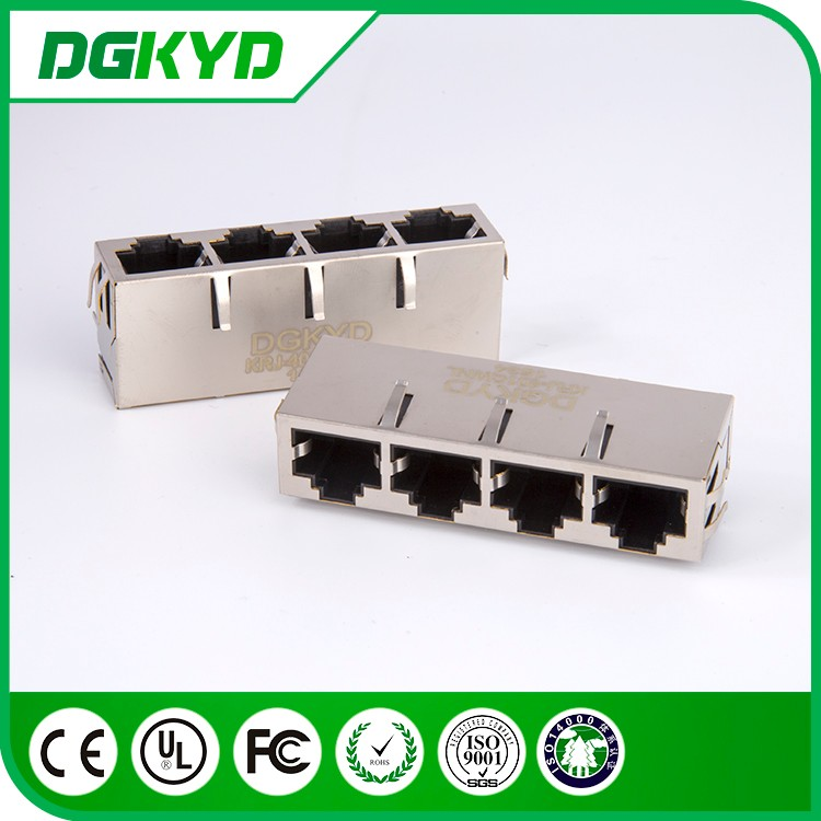 China manufacturer metal shield 4 ports with transformer 1000 BASE-T cat6 RJ45 Connector
