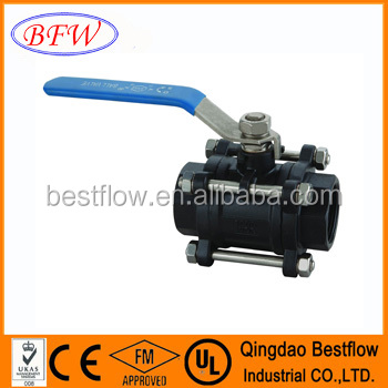 cast carbon steel A105 socket welding end 3pc ball valve