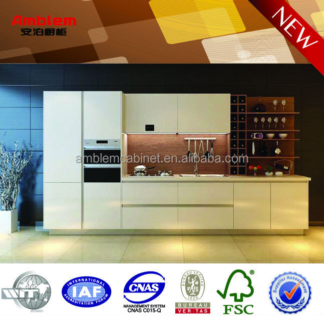 modern white lacquer with wood grain melamine kitchen cabinet