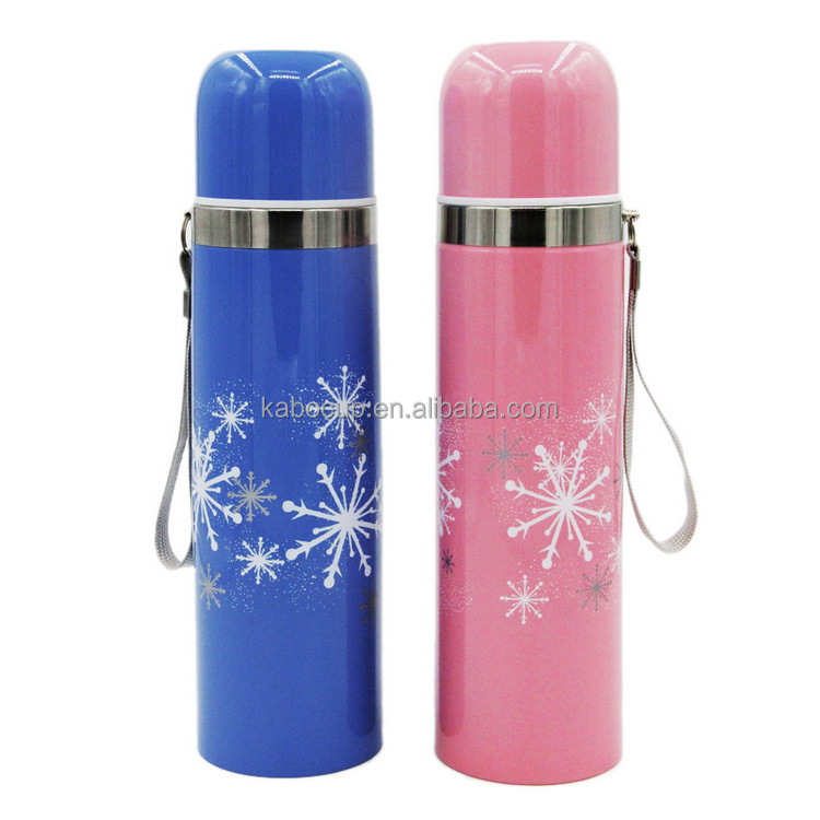 12oz/17oz Double Wall Stainlness Steel Vacuum Flask Water Bottle Thermos with handle strap