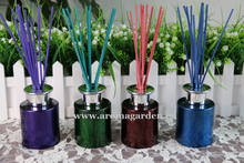 Fluorescence paint spraying decorative glass bottle reed diffuser for gift