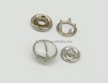 Fashion brass cap prong ring snap button, stainless steel snappet-prong button five prong snap button