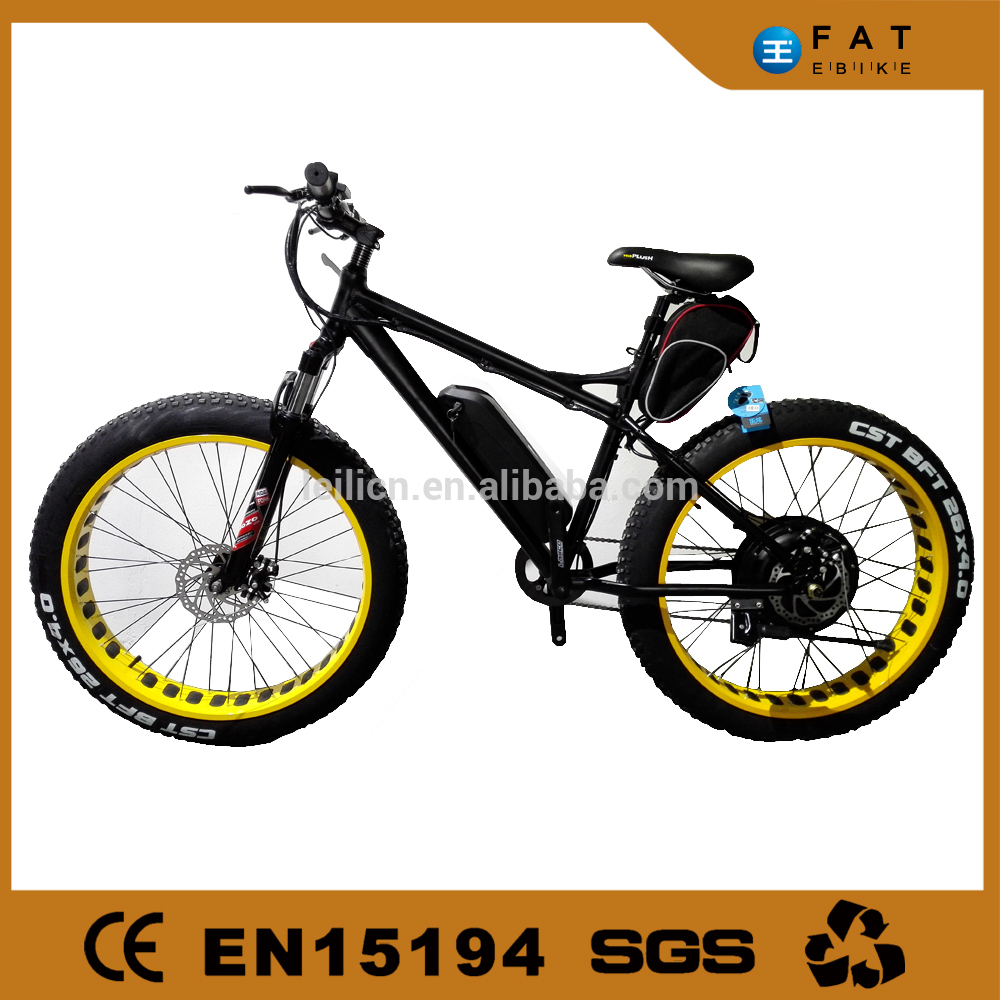 "Leili 26""4.0 inch big kenda tire 1000W 20ah fat cheap electric bike with battery on rear carrier"