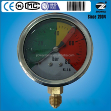 "63mm 2.5"" stainess steel case bottom connection oil filled colorful dial plate pressure gauge manometer"