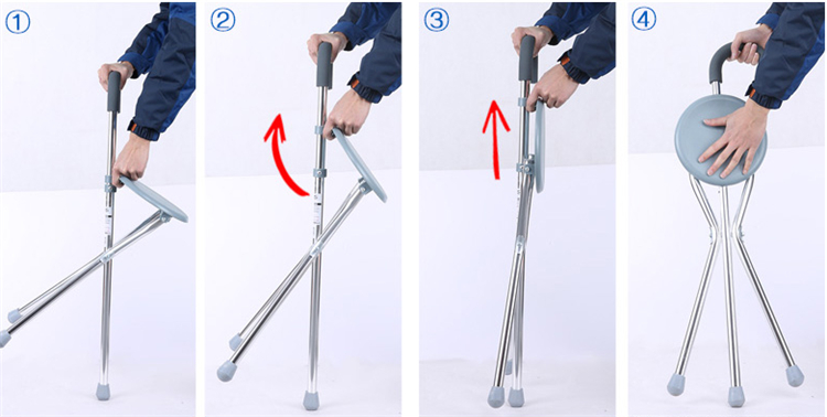 Old man's aid Iron walking stick with seat Three foot crutches