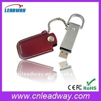 Classic leather case lanyard promotional gift USB flash drive