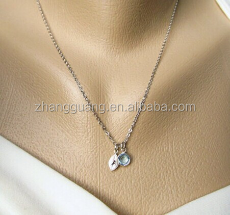 Birthstone and Leaf Initial Charms Necklace