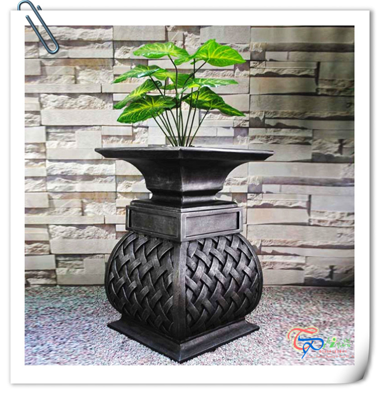 New Polyresin Black High Quality Multifunction Flower Pot