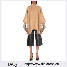 Wholesale Ladies Fashionable Simple Design Branded Plaque Two Slip Pockets Draped Wool Blend Poncho(DQE0147C)